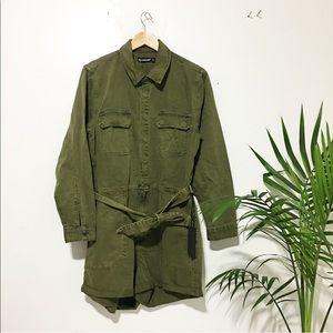 New / military green short romper